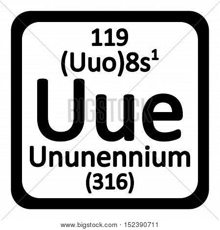 Periodic table element ununennium icon on white background. Vector illustration.