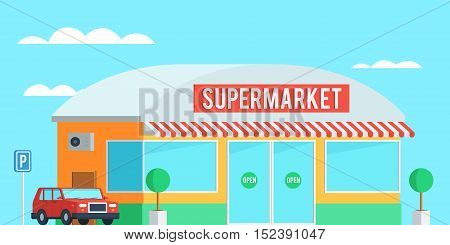 Supermarket exterior on the background of clear sky with a car in the Parking lot. Scene of the urban landscape. Horizontal Vector illustration in trendy flat style