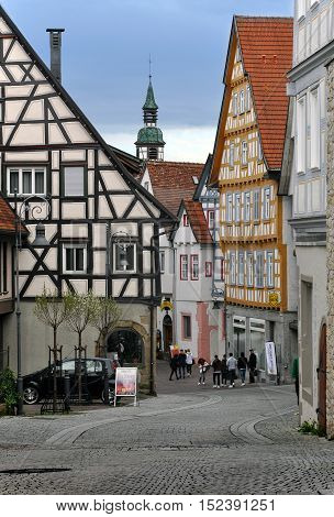 Waiblingen, Germany - April 16, 2014: The walking street of Waiblingen with old half-timbered houses in perspective. Baden-Wurttemberg, Germany.