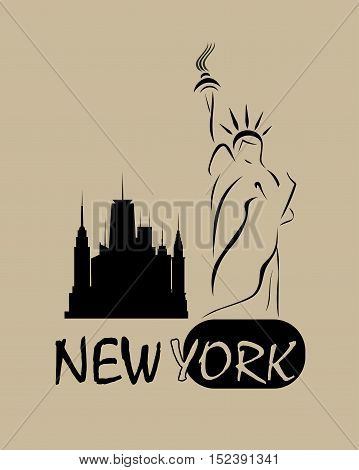 the statue of liberty with silhouettes of tall buildings and the words new York