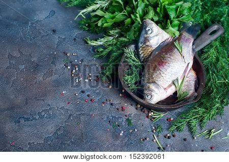 Delicious Fresh Fish On Dark Vintage Background.