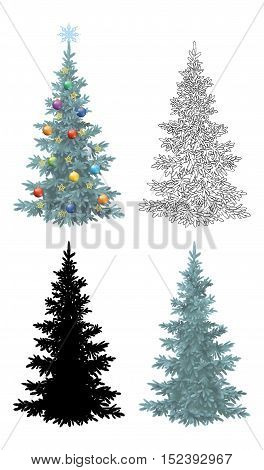 Set of Christmas Trees, with Holiday Decorations, Gold Stars and Colorful Balls, Green Naturalistic and Black Outlines Contours and Silhouette Isolated On White Eps10, Contains Transparencies. Vector