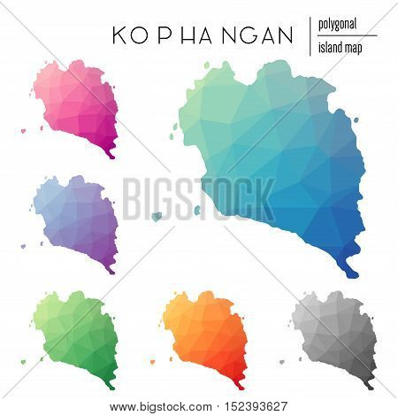 Set Of Vector Polygonal Ko Pha Ngan Maps Filled With Bright Gradient Of Low Poly Art. Multicolored I