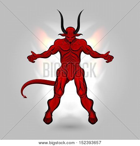 Red devil with a dark power design on gray background