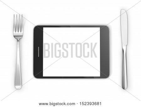 Knife fork near tablet PC on a white background. 3d illustration.