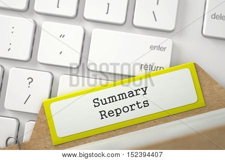 Yellow Index Card with Inscription Summary Reports Concept on Background of Modern Metallic Keyboard. Closeup View. Blurred Illustration. 3D Rendering.