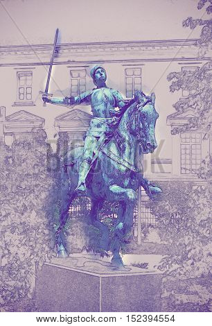 Jeanne d'Arc monument in Reims near cathedral. Vintage painting, background illustration, beautiful picture, travel texture