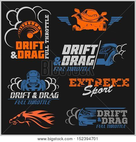 Set of sport cars logo, badge illustration. Drift, Drag racing, Tuning, Motor Sport.