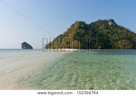 Tropical island and cristal clear water of Indian ocean