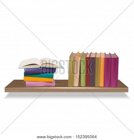 Vector illustration of bookshelves isolated on a white background