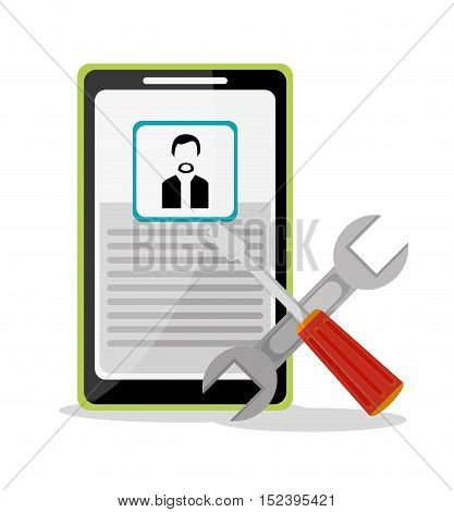 Smartphone tools and avatar icon. Social media marketing communication theme. Colorful design. Vector illustration