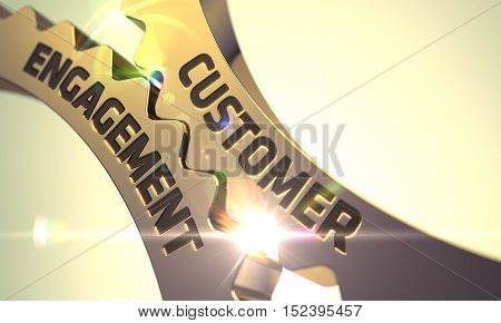 Customer Engagement - Golden Cogwheel. Technical Design. 3D Rendering.