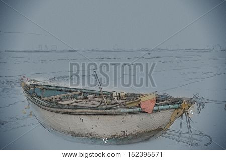 Traditional fishing boats on the beach of Da Nang city. Vietnam. Vintage painting, background illustration, beautiful picture, travel texture