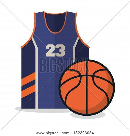 Ball and tshirt icon. Basketball sport hobby and competition theme. Colorful design. Vector illustration