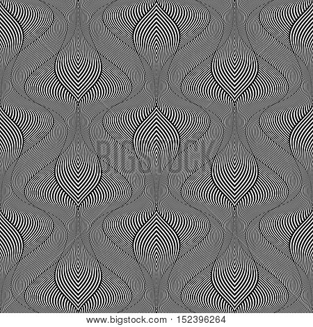 Seamless op art pattern. Wavy striped lines texture. Vector illustration.