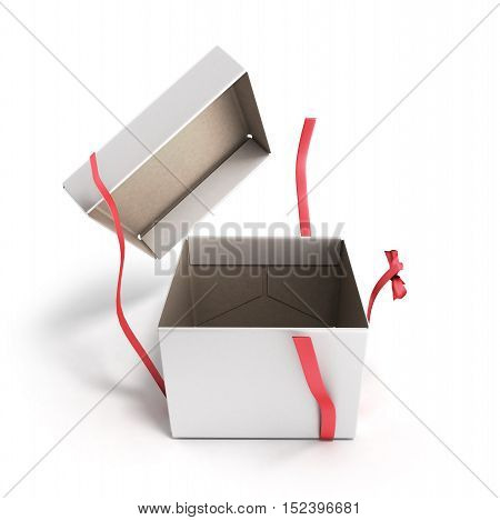 White Open Square Gift Box With Red Ribbon And Bow 3D Render Isolated On Background