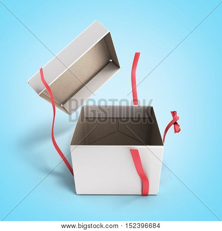 White Open Square Gift Box With Red Ribbon And Bow 3D Render