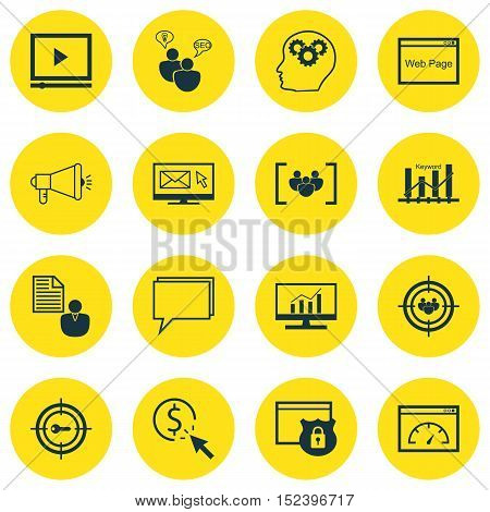 Set Of Advertising Icons On Video Player, Focus Group And Media Campaign Topics. Editable Vector Ill