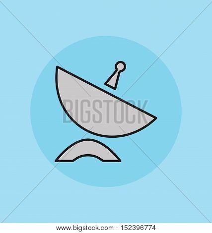 Satellite signal dish receiver icon vector sign.