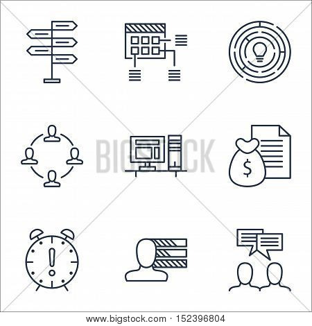 Set Of Project Management Icons On Innovation, Collaboration And Personal Skills Topics. Editable Ve