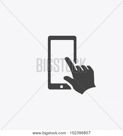 Finger touching smartphone screen icon vector sign.