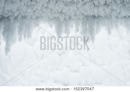 Abstract winter background for design. Hoarfrost on the wall