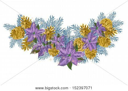 Vintage Christmas garland with golden pine cones and violet poinsettia isolated on white background. Vector illustration