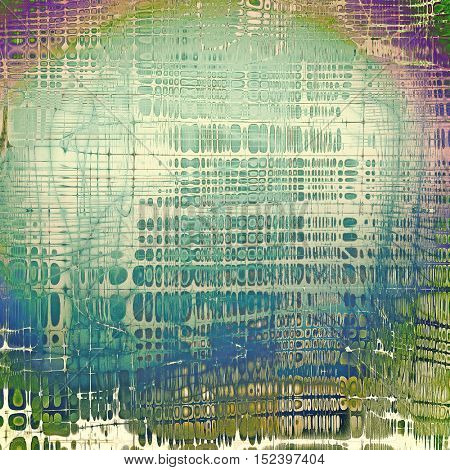 Vintage torn texture or stylish grunge background with ancient design elements and different color patterns: yellow (beige); gray; green; blue; purple (violet); cyan