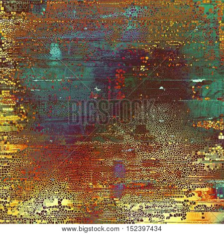 Grunge retro texture, aged background with vintage style elements and different color patterns: yellow (beige); brown; green; blue; red (orange); purple (violet)