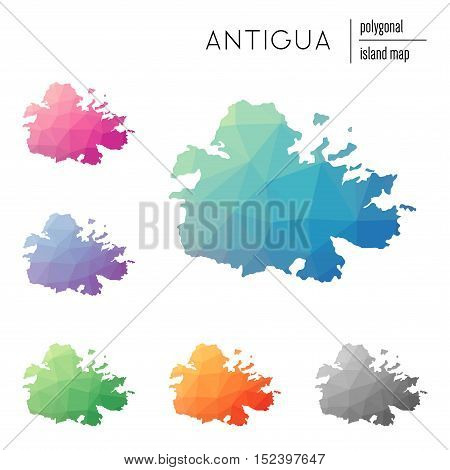 Set Of Vector Polygonal Antigua Maps Filled With Bright Gradient Of Low Poly Art. Multicolored Islan