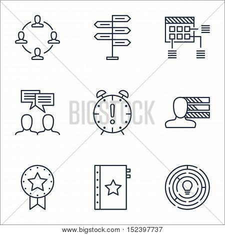Set Of Project Management Icons On Opportunity, Personal Skills And Schedule Topics. Editable Vector