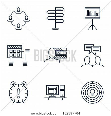 Set Of Project Management Icons On Presentation, Discussion And Innovation Topics. Editable Vector I