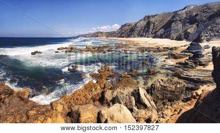 Atlantic Ocean and rocks on the coast of Portugal