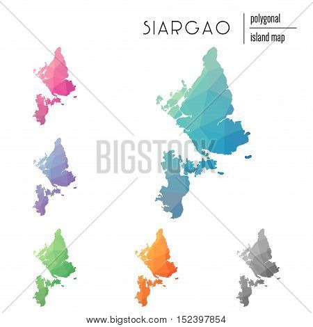 Set Of Vector Polygonal Siargao Maps Filled With Bright Gradient Of Low Poly Art. Multicolored Islan