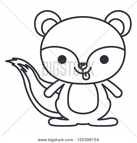Squirrel cartoon icon. Cute animal creature and little theme. Isolated design. Vector illustration