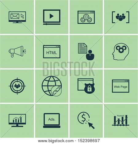 Set Of Advertising Icons On Market Research, Video Player And Ppc Topics. Editable Vector Illustrati