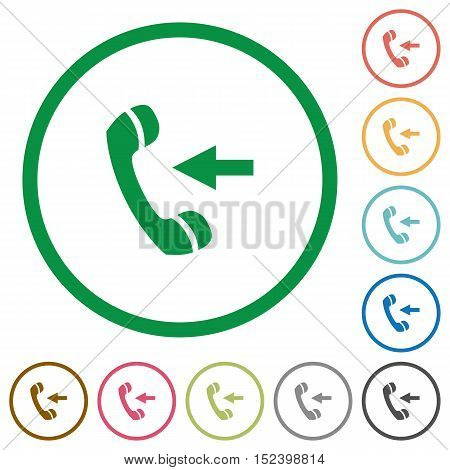 Set of incoming call color round outlined flat icons on white background