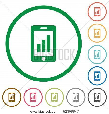 Set of smartphone signal strength color round outlined flat icons on white background