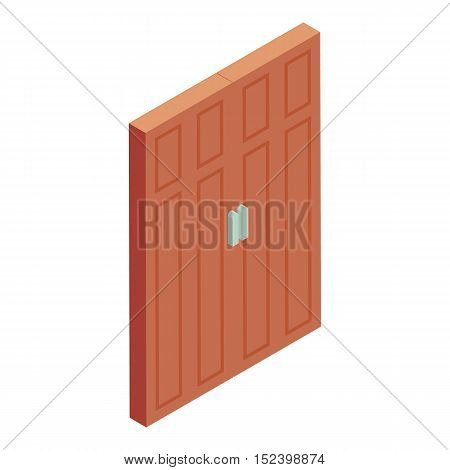 Brown door icon. Cartoon illustration of door vector icon for web design