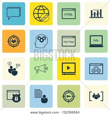 Set Of Marketing Icons On Focus Group, Seo Brainstorm And Brain Process Topics. Editable Vector Illu