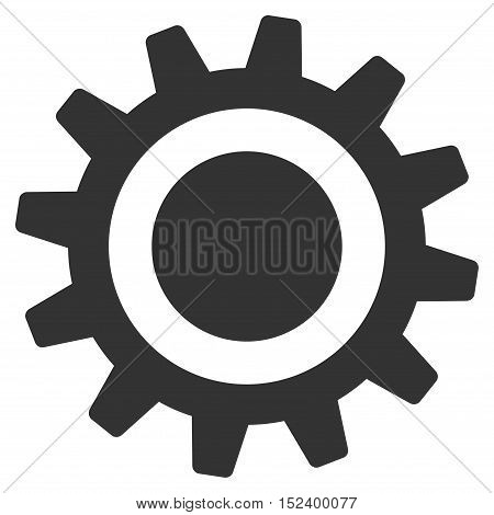 Cog vector pictograph. Style is flat graphic symbol, gray color, white background.