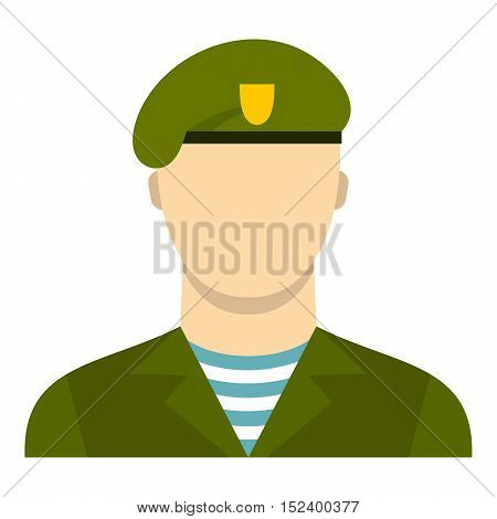 Army soldier icon. Flat illustration of soldier vector icon for web design