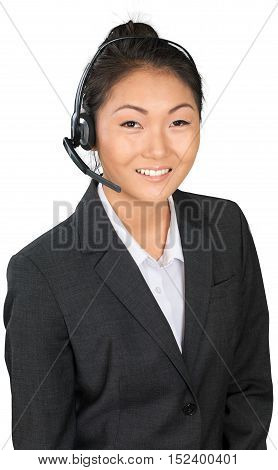 Friendly Asian Businesswoman Talking on Headset - Isolated