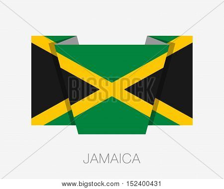 Flag Of Jamaica. Flat Icon Wavering Flag With Country Name