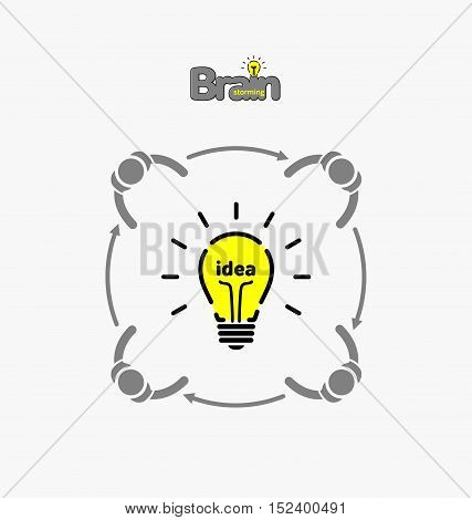 Vector Light Bulb Icon With Concept Of Idea. Brainstorming.