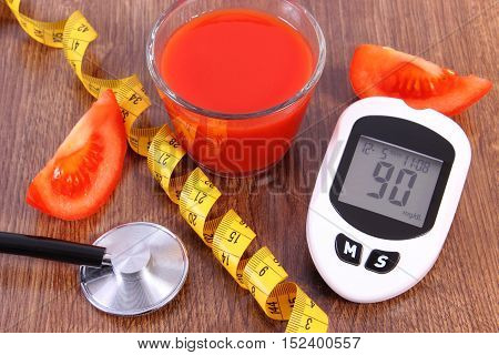 Glucometer With Centimeter, Fresh Tomato And Tomato Juice, Diabetes, Healthy Nutrition