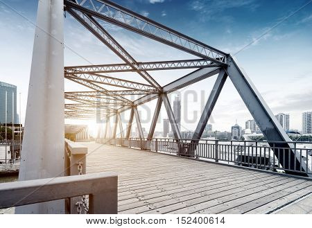 Located in Shanghai one hundred years ago the steel bridge.
