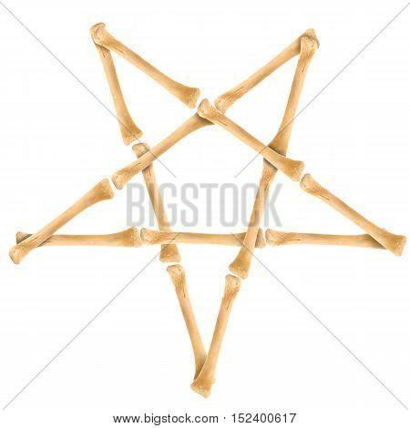 Bone pentagram. Pentagram made of crossed bones isolated on white. Resource for your design