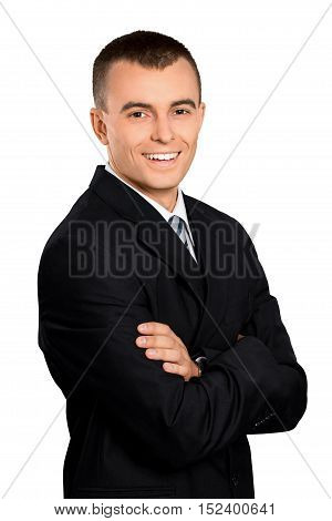 Happy Young Businessman with Arms Folded - Isolated
