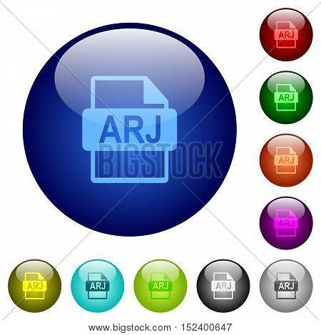 Set of color ARJ file format glass web buttons.